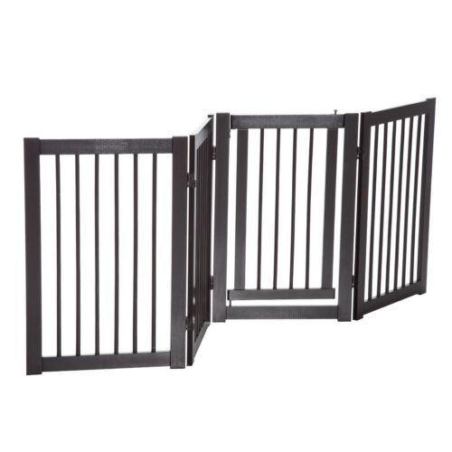 "30/"" Panel Wooden Folding Indoor Pet Dog Gate Freestanding Safety Fence w// Door"