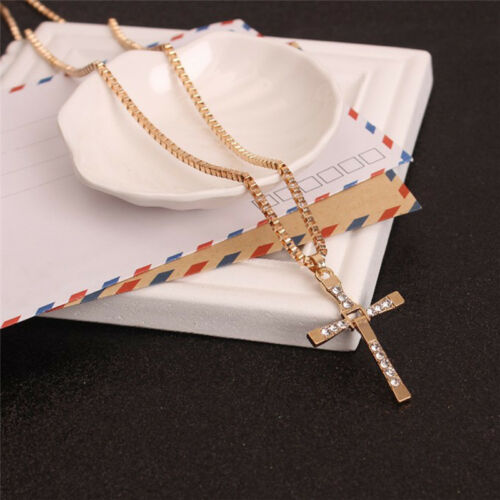 Trendy UnisexClassic Cross Pendant Necklace Crystal Rhinestone NecklaceJewelr LC