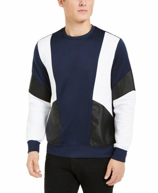INC Mens Sweater White Blue Size XL Crewneck Faux-Leather Colorblocked $55 #094