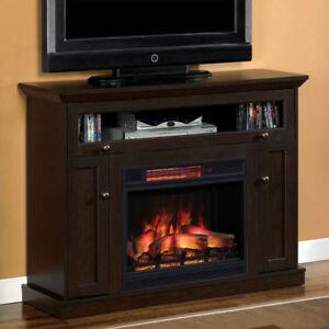 Windsor Infrared Electric Fireplace Media Cabinet In Oak Espresso Ebay