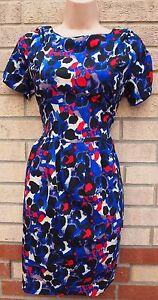 Azul-Rojo-Negro-Blanco-Abstracto-Leopardo-una-linea-Flippy-Skater-Vestido-M-L-sensacion-sedosa