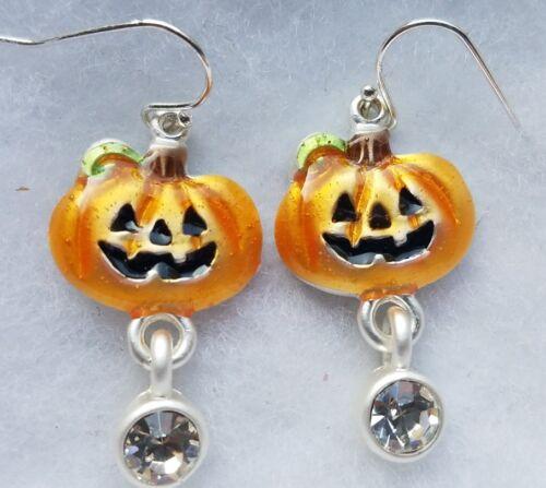 New Silver Tone Pumpkin Jack-O-Lantern Halloween Orange Earrings Rhinestone