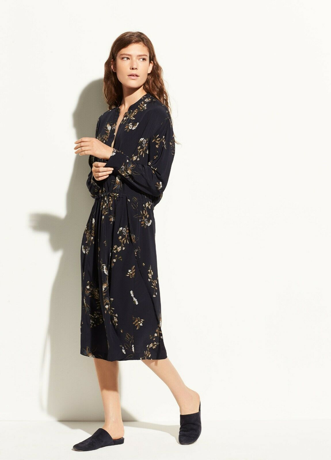 NWT Vince Spaced Floral Gathered Silk Shirtdress Coastal bluee Size M  485