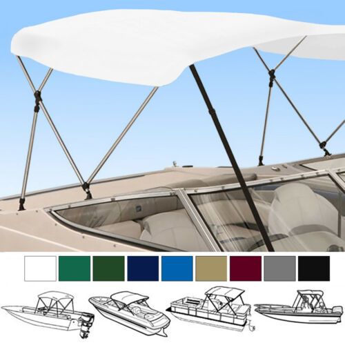 """Boat bimini top 4 Bow 96/""""L 54/""""H 79/""""-84/""""W set With boot Rear support poles"""