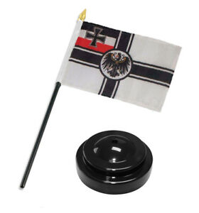 German-Germany-Imperial-World-War-1-WWI-Flag-4-034-x6-034-Desk-Set-Black-Base