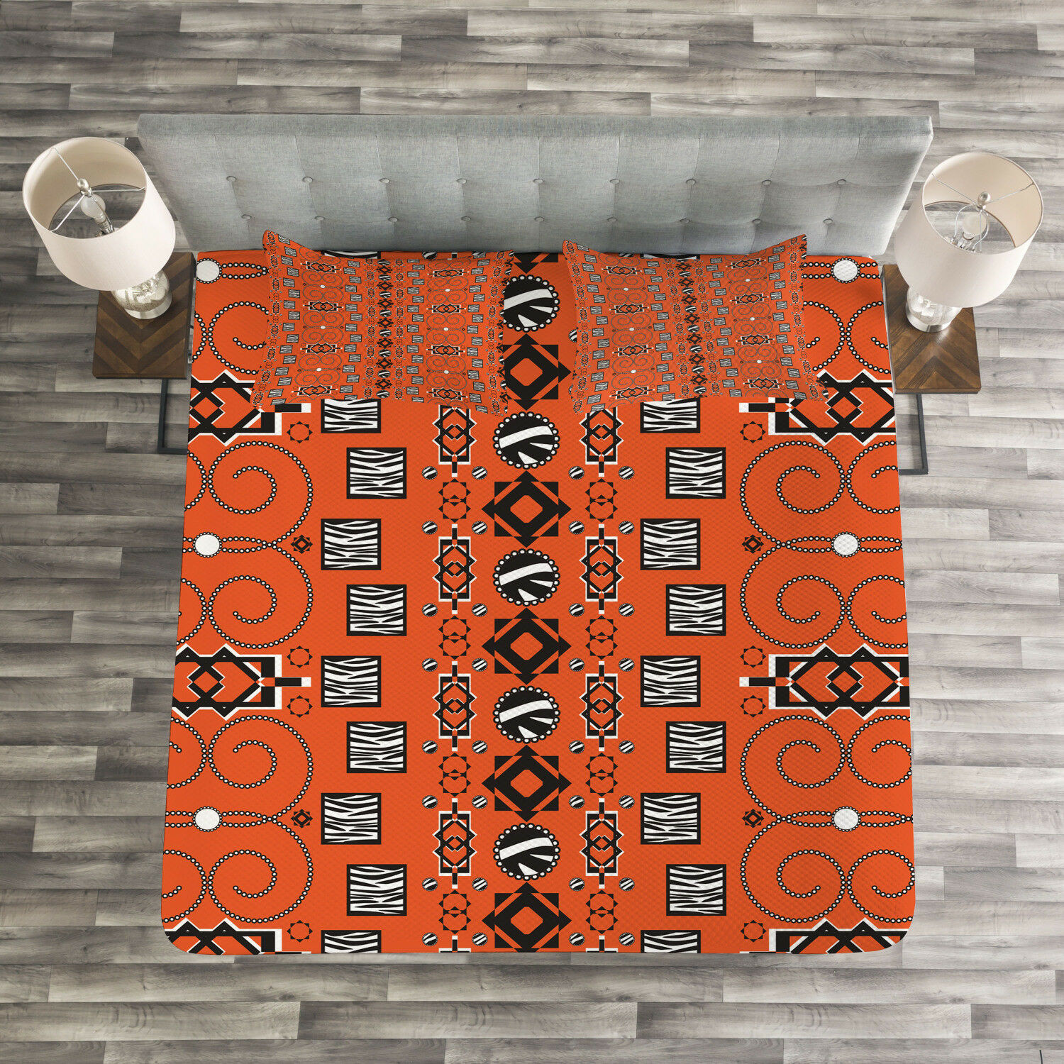 African Quilted Bedspread & Pillow Shams Set, Ethnic Tribal Ornaments Print