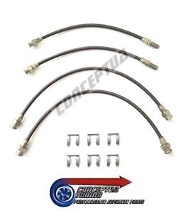 Stainless-Braided-Brake-4-Lines-Hose-Set-Carbon-For-R34-GTT-Skyline-RB25DET-NEO