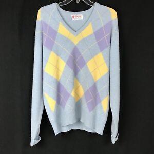 BRYANT-OF-SCOTLAND-Cashmere-Sweater-VTG-Womens-Argyle-Pastel-Blue-Small-Hole-GUC