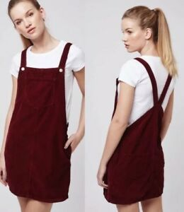 ec2f517283 Image is loading Topshop-Moto-Burgundy-Cord-Pinafore-Dress-With-Pockets-