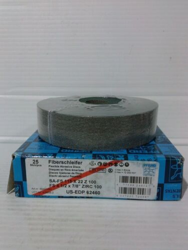 "Qty PFE01-25 25 PFERD 62460 4-1//2/"" x 7//8/"" 100 Grit Zirconia Fiber Disc"