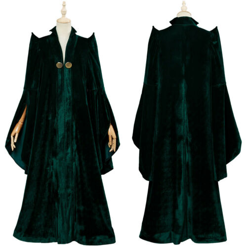 Harry Potter Minerva McGonagall Professor Cosplay Costume Green Robe Dress Suit