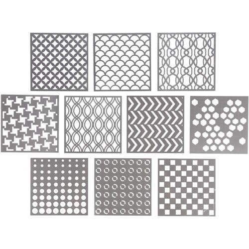 27090 10 x Hintergrund Schablone für Textil Papier STENCILS 15 x 15 cm