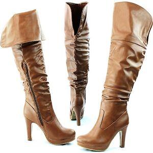 Fashion Platform Fold-able Over the Knee High Chunky Heel Boots