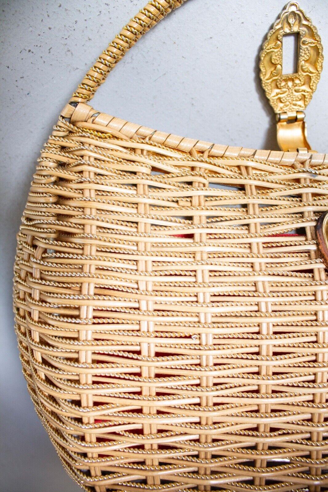Vintage Basket Purse 1960s Gold Metal Woven Wicke… - image 7