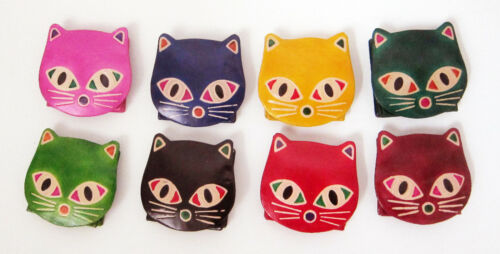 CAT shaped REAL LEATHER coin//change purse CUTE CAT/'S FACE new 8 cm x 8 cm