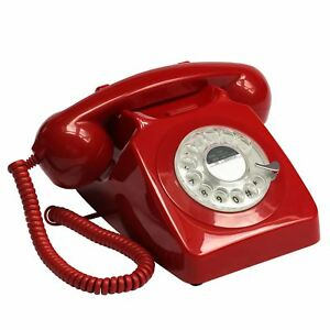 ProTelX-GPO746-Retro-Red-Iconic-Telephone-60-039-s-70-039-s-British-Rotary-Dial-Handest