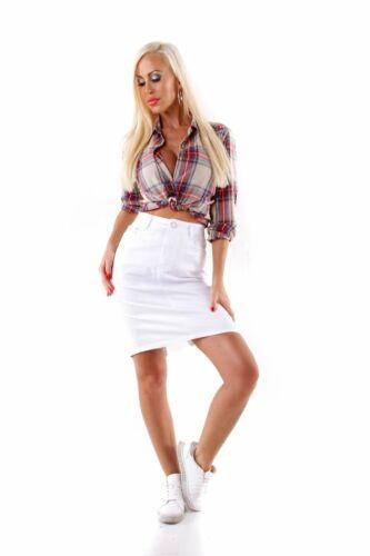 10252 Damen Rock Skirt Pencilskirt Minirock Baumwolle Slimfit Stretch Streetwear