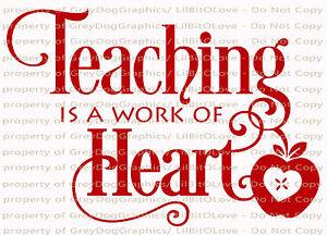 Teaching Is A Work Of Heart Vinyl Decal Sticker With Apple Teacher