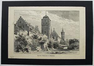 OCHSENFURT-Stadtbefestigung-Originaler-Holzstich-von-1885