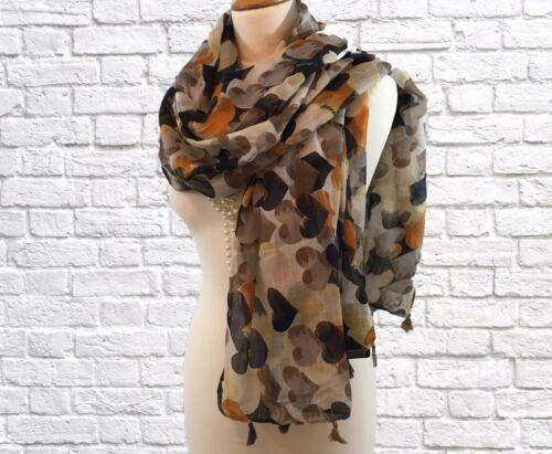 Ladies Bold Heart Print Pashmina Scarf Wrap Mustard Navy Beige Black White