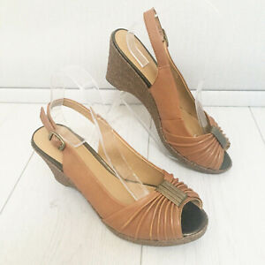Details about Footglove Slingback UK 7.5 Wedge Sandals Tan Brown LEATHER UPPER Peep Toe Party