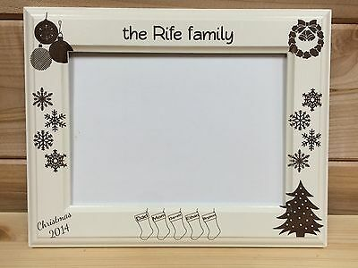 Family Christmas Picture Frame, Laser Engraved, Personalized, White ...