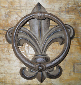 Details About Cast Iron Antique Style Fleur De Lis Door Knocker Brown Finish