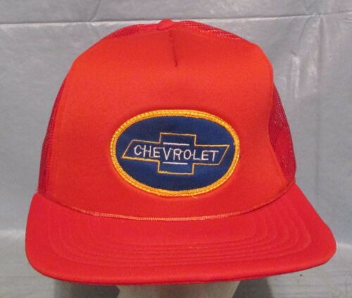 .CHEVROLET Bow tie Trucker Baseball Cap Hat,Red, Mesh Snap Back