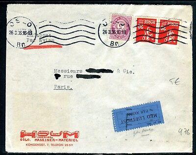 Redelijk Norvège - Enveloppe Commerciale De Oslo Par Avion Pour La France En 1936