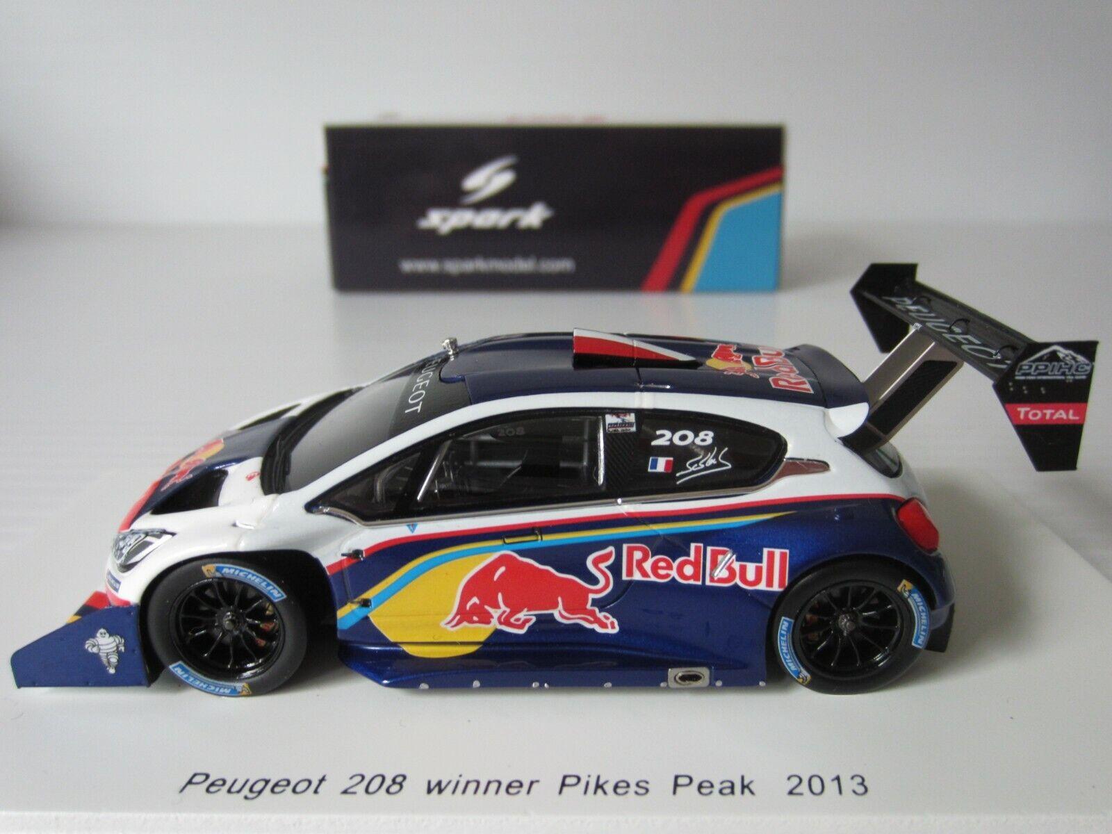 Spark, Peugeot 208 Pikes Peak ganador 2013, 1 43 Escala Modelo de Resina, S Loeb  S3783