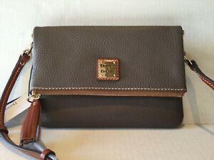 NWT-DOONEY-amp-BOURKE-Pebble-Leather-Foldover-Zip-Crossbody-Shoulder-Bag-ZR0173
