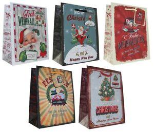 Geschenktüten Weihnachten 23x18x10 Weihnachtstüte Vintage Retro Tasche 22-0408-2