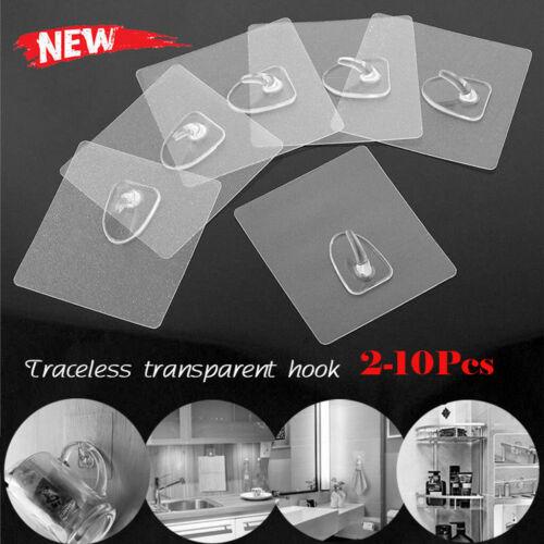 Anti-skid Hooks Reusable Transparent Traceless Wall Hanging Hooks 2-10pcs