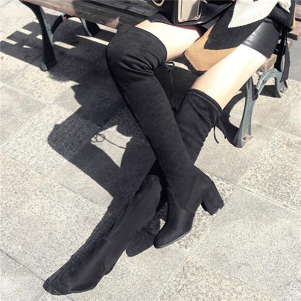 stiefel up knie 7.5 cm staubtücher schwarz elegant simil leder 9568