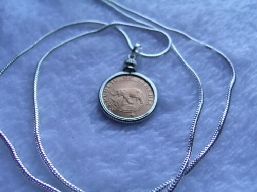 """African Elephant /& Palm Tree Coin Pendant on a 24/"""" 18k White Gold Filled Chain"""
