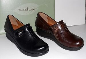 NURTURE-Malone-Slip-On-Mule-SHOE-7-5-or-8-5-Brown-or-Black-LEATHER-NEW-Box