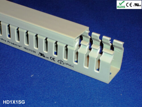 """Gray 18 New 1/""""x1/""""x2m Narrow Open Slot Wiring Duct//Cable Raceway with Cover"""