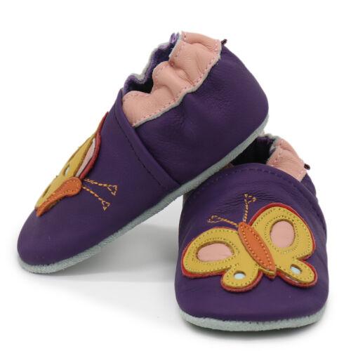 Carozoo Coloré Papillon Violet 18-24 m semelle souple en cuir chaussures de bébé