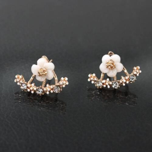 Fleur De Verre Cristal Femmes Alliage Pétales Boucles D/'oreille Ear Stud Bijoux Mariage