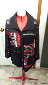 Pause-Cafe-Black-multi-coloured-Jacket-cardi-French-designer-Brand-new-with-tags