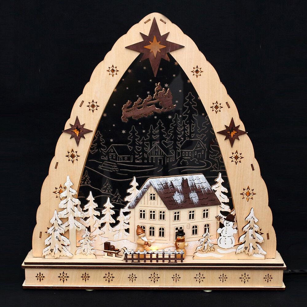 3D Led Arc à Lumière à Bougies Verre Acrylique Dorfhaus Bonhomme de Neige 45 Cm