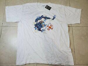 Vintage-100-Cotton-Blue-Dragon-Print-Shirt-Mens-XL-Anime-Oriental-Art