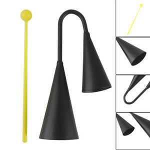 Metall-Two-Tone-Cowbell-mit-Kunststoff-Striker-Percussion-Instrument-Black-BC