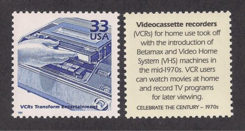 BETAMAX /& VHS TAPES POSTAGE STAMP 1970/'s VIDEOCASSETTE RECORDER VCR - U.S