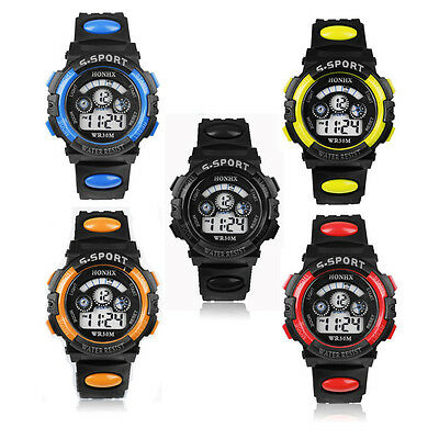 Waterproof Mens Boy's Digital LED Quartz Alarm Date Sports Wrist Watch Excellent