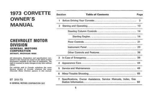 Car & Truck Manuals Automotive 1973 Chevrolet Corvette Owners ...