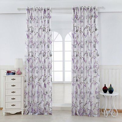 3QMart 2 Panels Floral Print Eyelet Window Sheer Voile w/ Lined Curtains Drapes