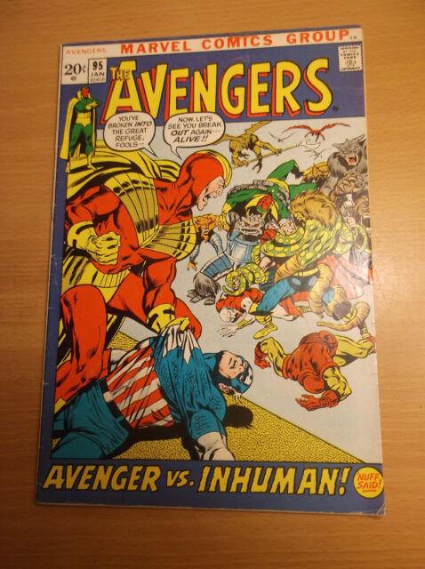 MARVEL: AVENGERS #95, TEAM VS THE INHUMAN, BEAUTIFUL NEAL ADAMS ART, 1972, FN-!!