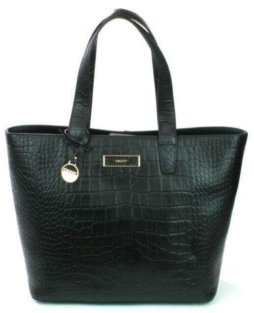 2419c19d76b DKNY Donna Karan Black Leather Croc Embossed Shoulder Bag Medium Handbag  RRP£375