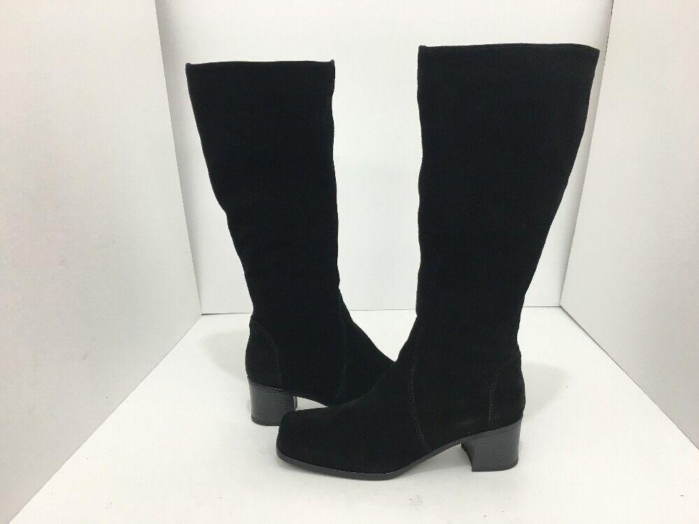 La Canadienne Jenny Para Para Para mujeres Alto a la Rodilla Alto botas Tacones Impermeable Negro Gamuza 5 84abc6
